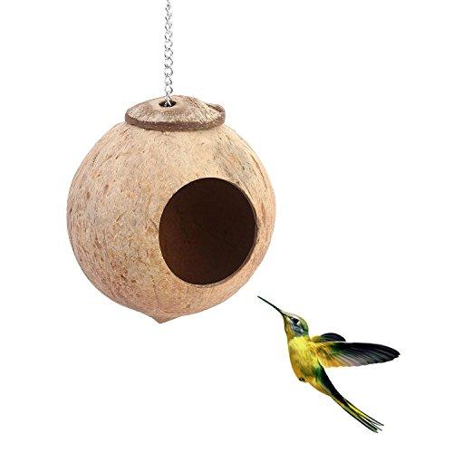 AOLVO Coco Hideaway, natürlichem Kokos Shell Bird Perch House Spielzeug, zum Aufhängen Nistkasten Haus Hütte Deko Vogel Nest Cage Feeder Box für Parrot Wellensittiche sperlingen Nymphensittiche Finch Hamster (Nest Finch Box)