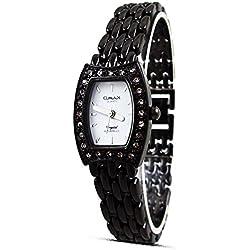 New Fashion Dress Style Omax Ladies Women Wrist Watch Black Chain White Analog Silver Hands Quartz