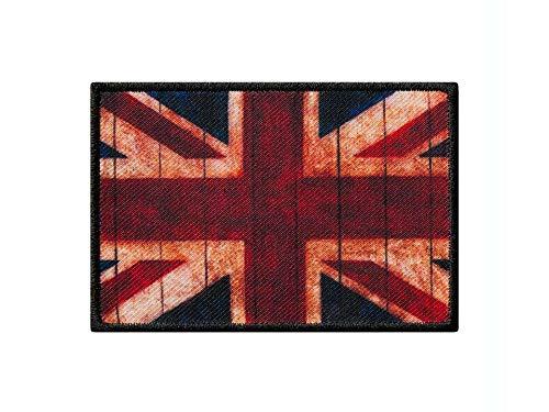 Monoquick Bügelbild Applikation Aufnäher Patch Flagge Fahne England Vintage 8,0 cm x 5,5 cm