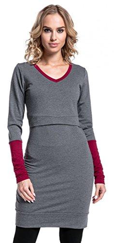 Happy Mama. Damen Tunika Sweatshirt Stillzeit Umstandsmode Kontrastdetails. 514p Graphit Melange