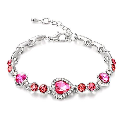 Yellow Chimes Heart Crystal Charm Bracelet for Women (Pink)(YCFJBR-004055-PK)
