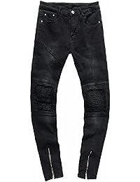bdeee7aeca6e2 zycShang Jeans Hommes Pantalons Plis Lavage Travail Effiloché Patchwork  Trou Plier Casual Trousers en Denim Vintage