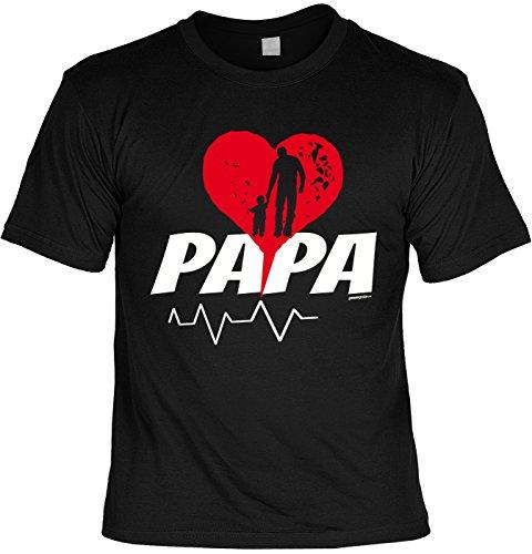 Fun T-Shirt zum Vatertag: Papa - Herz - Geschenk, Geburtstag, Vatertagsausflug - schwarz Schwarz