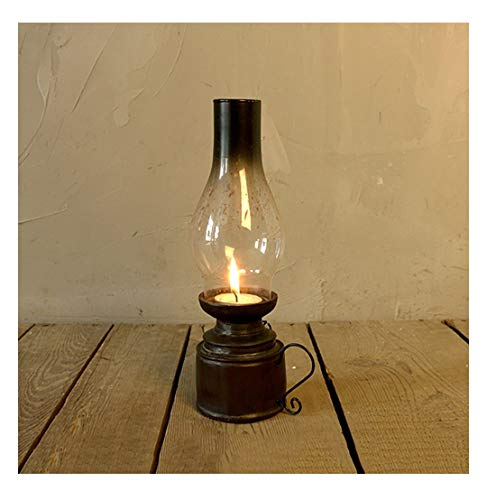 Retro Petroleumlampe Kerzenständer Harz Ornament Vintage Kerzenhalter Klassisches Kerzenlicht, Traditionelle Laterne Vintage Petroleumlampe Stil Winddichtes Glas, Dekorative Kerzenlaternen,MIDDLE (Laterne Dekorative Kerzenhalter)