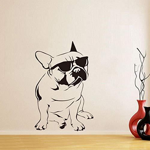ZJfong 30x51cm hund sonnenbrille französische bulldogge wandaufkleber vinyl wandbild wandkunst aufkleber kinderzimmer tapete dekoration