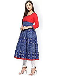 Royal Export Women's Blue & Red Crepe Printed Anarkali Kurta