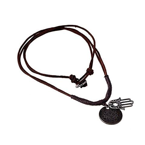 Incendemme Unisex Leder Halskette Schmuck mit FATIMA HAMSA HAND Design Anhänger Gravur Choker verstellbare Kette cool Modeschmuck