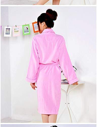 Nachtschlafanzug Baumwollbademantel Männer und Frauen dickes Handtuch geschnitten Samt Bademantel Herbst und Winter langen Absatz plus Dünger, um das Nachthemd zu erhöhen (Farbe: Pink, Größe: M (Länge