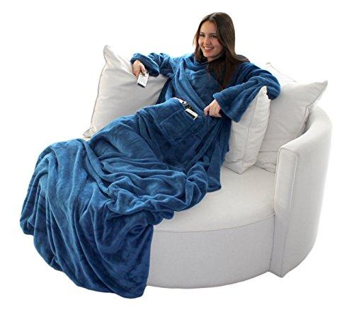 Brandsseller Flauschige TV-Decke mit Ärmeln in Cashmere Feeling - Fußsack und 2 Taschen - Kuscheldecke Tagesdecke - 170 x 200 cm - Blau -