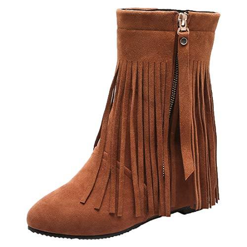 YE Damen High Heels Stiefeletten Wedge Ankle Boots mit Keilabsatz und Fransen Stiefel Reißverschluss Keilstiefel Winter Schuhe(Braun,38)