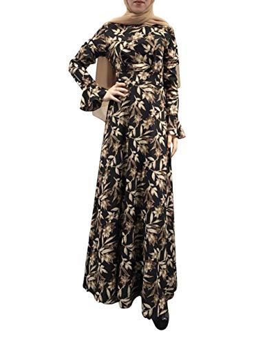 Zhhlaixing Maniche a Tromba Stampate Nere con Caviglia Abito a Vita Alta  Jalabiyas Women Islamic Clothing a1b63923f