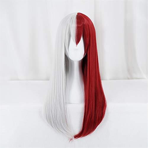 ZYC Frauen-Lange Perücke-Kostüm-rote und weiße synthetische Haar-Halloween-Partei hitzebeständig