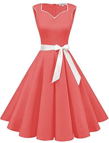 GardenWed Damen 1950er Vintage Cocktailkleid Rockabilly Retro Kleider Petticoat Faltenrock Abendkleid Coral 2XL (Vintage Pin Up Mädchen Kostüm)