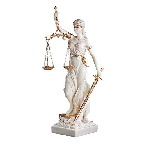 Design Toscano Göttin der Gerechtigkeit Themis Statue aus Marmor-Steinguss, Maße: 14 x 9 x 33 cm 1 kg
