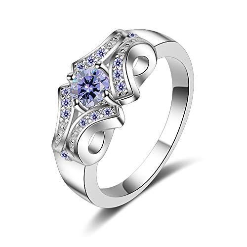 Yazilind Damen Platin beschichtet Zirkonia Infinity Unendlichkeit Damen-Ring Diamante schmuck(18.8)