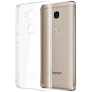 SDO™ Dotted Finish Ultra Thin Silicone Soft Jelly Case Back Cover for Huawei Honor 5X - Transparent + Pen Style Stylus + 3.5mm Auxiliary Cable AUX Combo Set