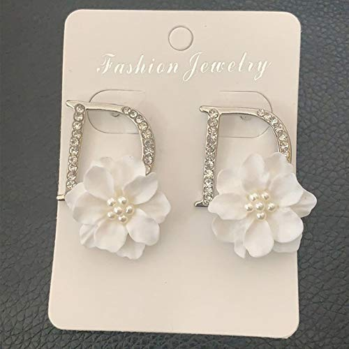 FUKAI Mode Einfache BöhmenDesign Goldene D Weiße Blume Ohrring Für Frauen Buchstabe D Perle Kappe Trendy Schmuck Hochzeit Damen Zubehör (Schwimmen-kappen Für Frauen Blume)