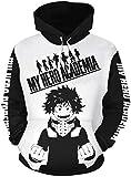 FLYCHEN Homme 3D Sweats à Capuche My Hero Academia Boku No Hero Academia Fans Sweat Manga Japonais Pullover déguisement (Logo Blanc Noir 14, M)