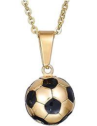 Colgante fútbol de acero inoxidable negro esmalte blanco pelota de fútbol  colgante declaración deporte joyería 18 3d26e7814ba14