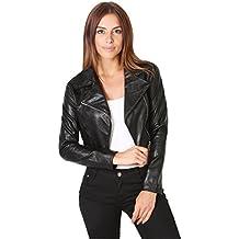 KRISP® Veste Cuir Femme Asymétrique Tailleur Biker Blazer