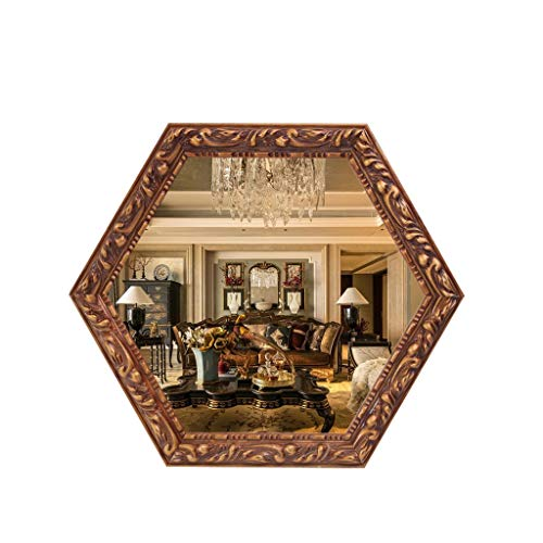 LEI ZE JUN UK Mirror- Sechseckiger dekorativer Bronze-Spiegel, Badezimmer-Retro-Europäischer Wandbehang Wandspiegel