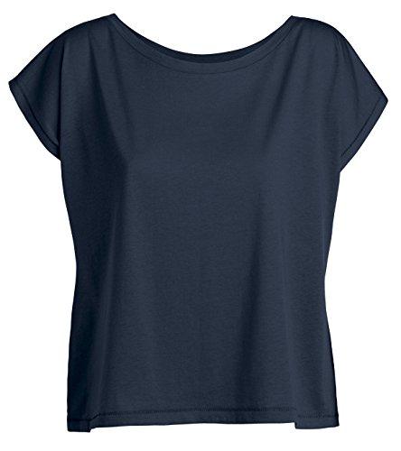 YTWOO Oversize Damen T-Shirt Aus 100% Bio-Baumwolle, Weit Geschnittenes Damen T-Shirt mit U-Ausschnitt, Oversize Damen Shirt (S, Navy) (Bio Basic Tee)