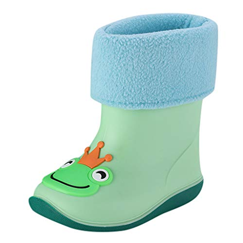 BaojunHT Kids Warm Lined Rain Boots Cute Animal Wellies Wellington for Infant Toddler Girls and Boys Non-Slip Outdoor Shoes