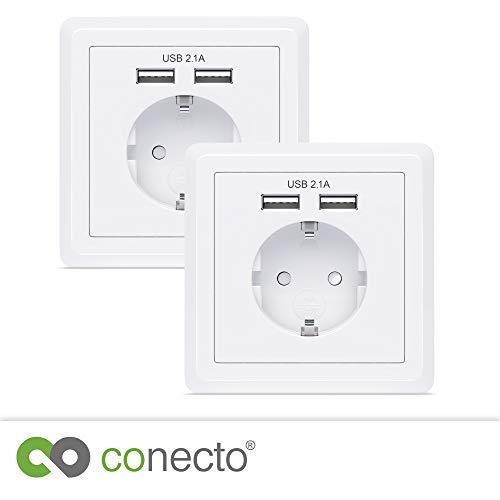 conecto CC50500 Schutzkontakt Steckdose, Einbausteckdose, Wandsteckdose, Unterputz mit 2X USB Anschluss, weiß (2 Stück)