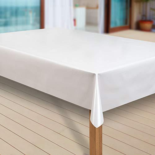 laro Wachstuch-Tischdecke Abwaschbar Garten-Tischdecke Wachstischdecke PVC Plastik-Tischdecken Eckig Meterware Wasserabweisend Abwischbar G05, Größe:110x180 cm, Muster:Uni weiß