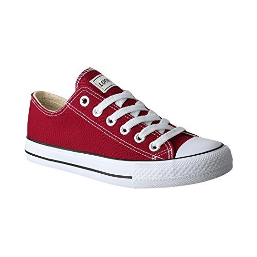 Lucky-Z Unisex Sneaker | Bequeme Sportschuhe für Herren und Damen | Low top Turnschuh Textil Chunkyrayan 089-A-Bordo-38