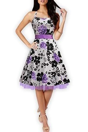 Black Butterfly 'Rhya' Vintage Serenity 50's Dress (White & Purple, UK 8)