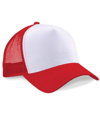 Beechfield Herren Baseballkappe Mesh Trucker (Einheitsgröße) (Rot/Weiß ) one size,Rot/Weiß