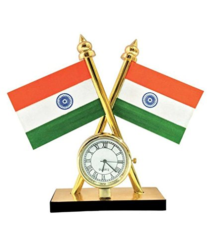 Varshine® Indian Flag With Quartz Watch For All Cars Dashboard (Must for Every Car) FC-201