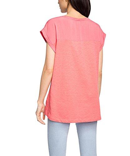 Esprit 026ee1k004 - Materialmix - T-shirt - Femme Rouge (CORAL 645)