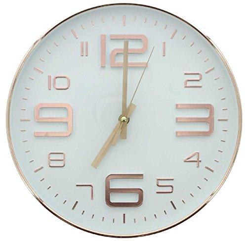 SIDCO ® Wanduhr Glamour weiß Kupfer Bürouhr Wand-Deko Uhr 3D Ziffern rund 30 cm