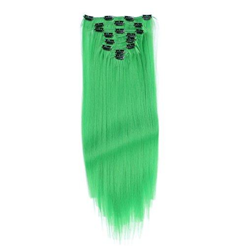 ons - #Grün - 60 cm - Gewellt - 8 Tressen mit 18 Clips - Haarverlängerung XXL Komplett-SET - 140g - Kanekalon synthetisches Haar mit sehr hoher Qualität (Grüne Hair Extensions)