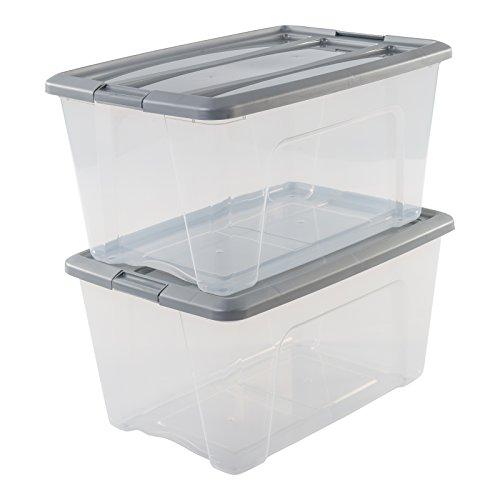 IRIS, 2er-Set stapelbare Aufbewahrungsboxen / Kisten / Stapelboxen \'New Top Box\', NTB-45, mit Klickverschluss, Plastik, silberer Deckel, 45 L, 58 x 39,5 x 30,5 cm