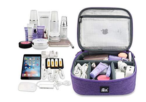 Reisetasche für Kopfhörer, Datenpaket, Ladegerät, tragbare Festplatte, Digitale Aufbewahrungsbox, Reisetasche, Kosmetiktasche, Elektronikkabel, Organizer Tasche violett (Braves Wallet)