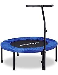 Relaxdays Trampoline intérieur fitness pliable avec poignée barre de maintien HxlxP: 126 x 102 x 107 cm charge maximale: 100 kg, bleu noir