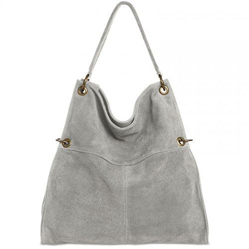 Caspar Fashion TL757- Borsa a spalla da donna, in pelle scamosciata Light Grey