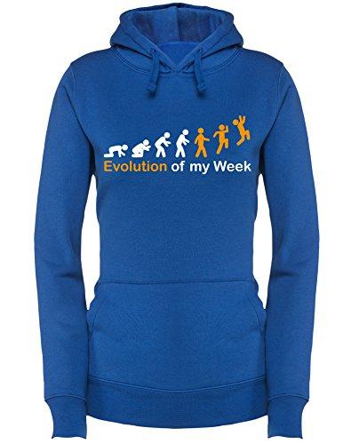 Evolution of my Week - Evolution meiner Woche - Damen Hoodie Royal/Weiss-orange