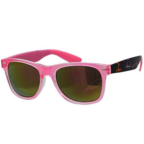 Oramics Wayfarer Retro Sonnenbrille in Pink mit stylischem Muster