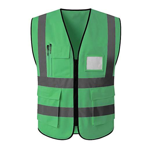 Reflektierende Weste Baustelle Fluoreszierende Weste Hygiene Arbeiter Kleidung Verkehrssicherheit Schutzkleidung (Color : Fluorescent Green, Größe : L)