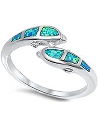 Los delfines de plata esterlina Lab joya anillo de ópalo