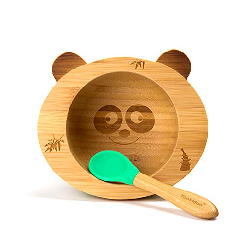 Baby Saugnapf Schüssel mit passendem Löffel Set silikon Starke Absaugung fürs Kleinkind und natürlicher Bambuslöffel tierisches Geschirr Essen lernen,panda - Kleinkind, , Essen, Schüssel-set