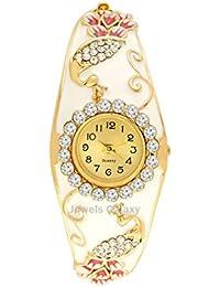 Jewels Galaxy Enamel Luxuria Peacock Designer Gold Plated Women/Girls Bracelet For Wedding/Party Bracelet
