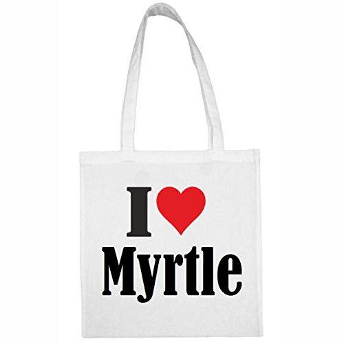 Tasche I Love Myrtle Größe 38x42 Farbe Weiss Druck Schwarz