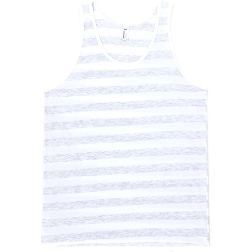 American Apparel Mens Fine Jersey 100% Cotton Contrast Tank Top Ash/ WhiteStripe