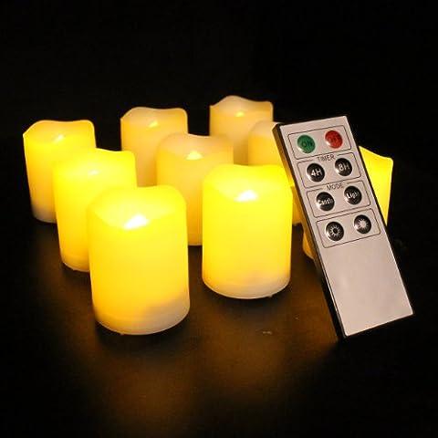 Frostfire Mooncandles - Set de 9 velas de ofrenda para uso en exterior e interior con mando a distancia y