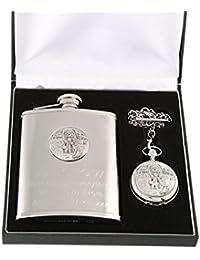 Great Gifts Reloj de Bolsillo y petaca de Peltre con Grabado de Abuelo y Texto en